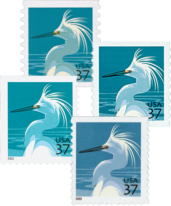 2003-2004 37c Snowy Egret, collection of 4 stamps
