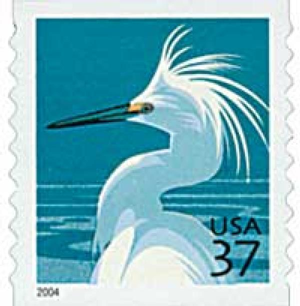 2004 37c Snowy Egret, per 9 1/2 vertical