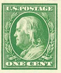 1910 1c Franklin, Green, Single Line Watermark, Imperforate