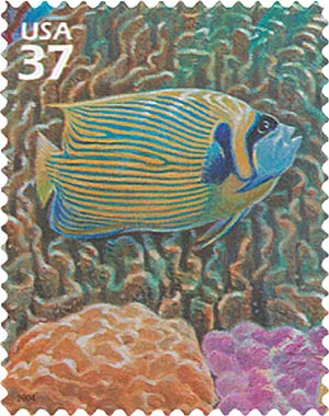2004 37c Pacific Coral Reef: Emperor Anglefish and Blue Coral