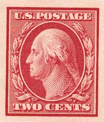 1910 2c Washington, carmine, single line watermark, imperforate