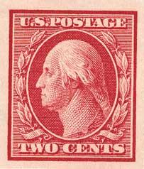 1910 2c Washington, carmine, single line watermark, imperforate