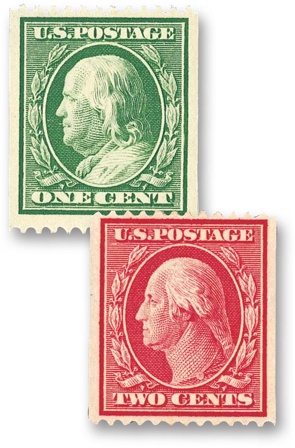 Complete set, 1910 Coil Stamps Perf.12 Horizontally