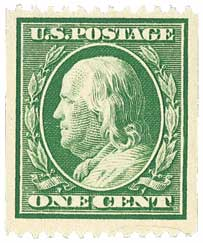 1910 1c Franklin, coil, green, single line watermark