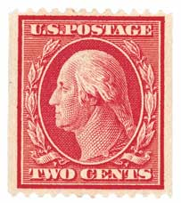 1910 2c Washington, coil, carmine, single line watermark