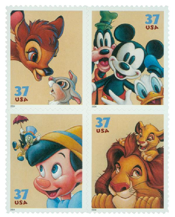 2004 37c The Art of Disney, Friendship, block of 4 stamps