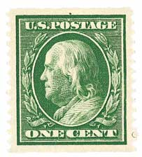 1910 1c Franklin, green, perf 12 vertical