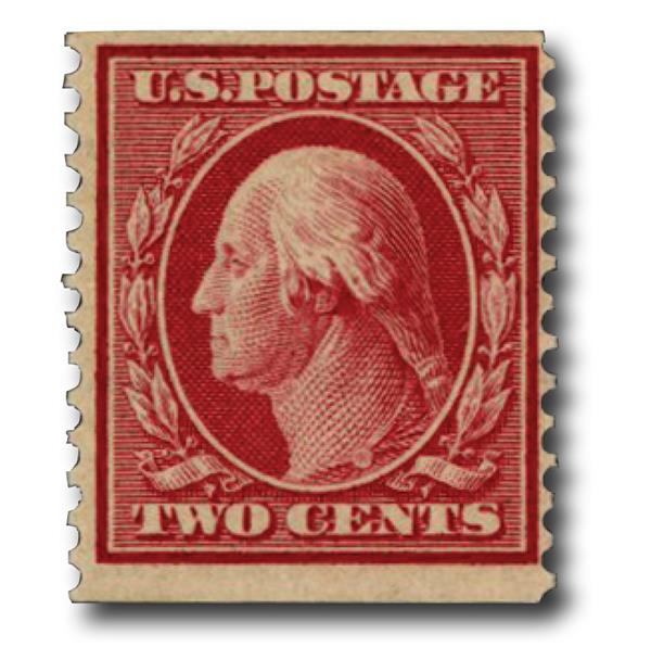 1910 2c Washington, carmine, perf 12 vertical