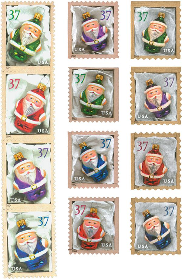 2004 37c Santa Ornaments, collection of 12 stamps