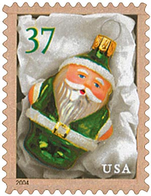 2004 37c Contemporary Christmas: Green Santa Ornament