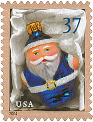 2004 37c Contemporary Christmas: Blue Santa Ornament