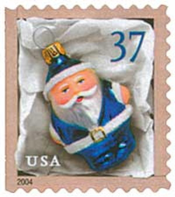 2004 37c Contemporary Christmas: Blue Santa Ornament, vending booklet