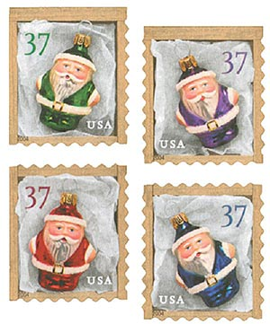 2004 37c Contemporary Christmas: Santa Ornaments, ATM booklet stamps