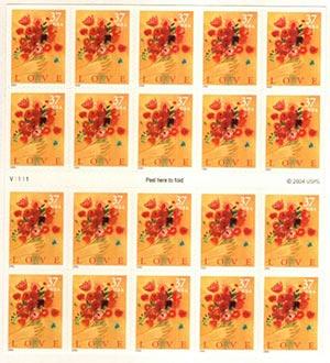 2005 37c Love Bouquet, Booklet of 20