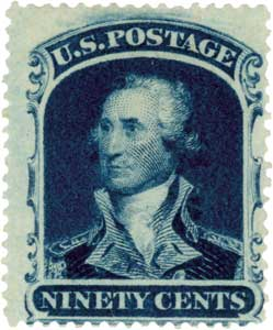 1860 90c Washington, blue