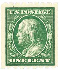 1910 1c Franklin, green, perf 8.5 horizontal