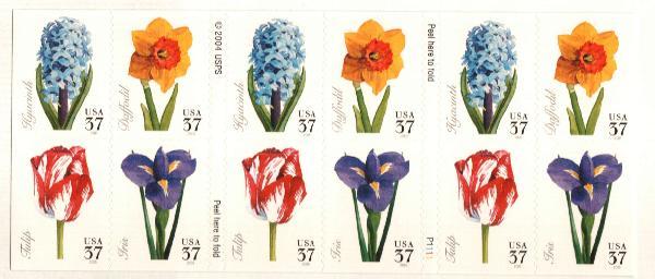 2005 37c Spring Flowers, Bklt of 20 s/a