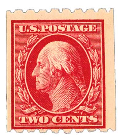 1910 2c Washington, carmine, perf 8.5 horizontal