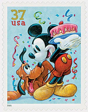 2005 37c The Art of Disney: Pluto and Mickey Mouse