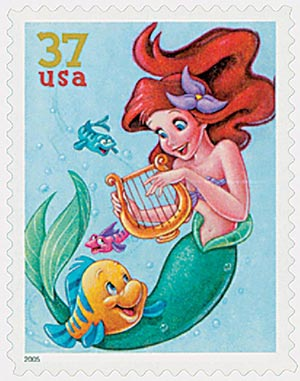 2005 37c The Art of Disney: Flounder and Ariel