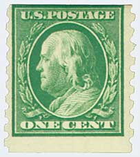 1910 1c Franklin, green, perf 8.5 vertical