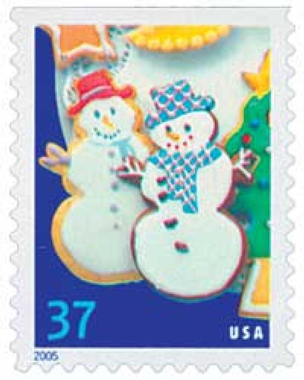 2005 37c Holiday Cookies: Snowmen, booklet single