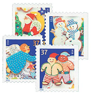 2005 37c Contemporary Christmas: Holiday Cookies, booklet stamps