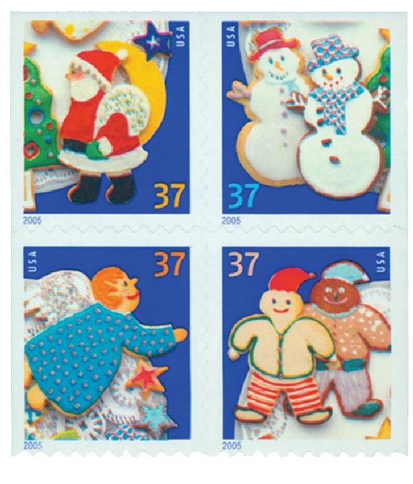2005 37c Holiday Cookies, block of 4 stamps