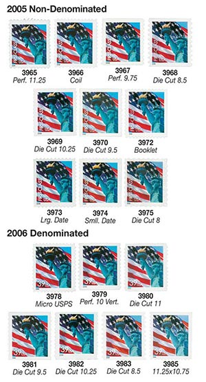 2005-06 Lady Liberty and Flag Rate Change, collection of 17 stamps
