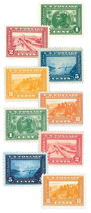 Complete Set, 1913-15 Panama-Pacific Issues, 9 stamps