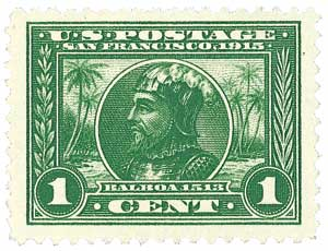1913 1c Panama-Pacific Exposition: Balboa, green, perf 12