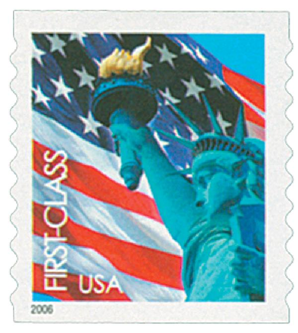 2005 39c Statue of Liberty and Flag, coil, 9 1/2 perf