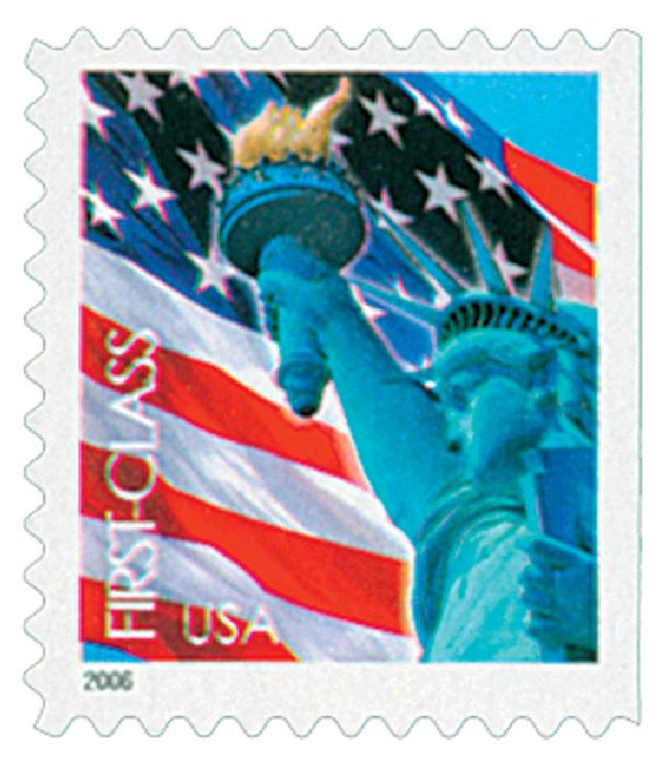 2005 39c Statue of Liberty and Flag, convertible booklet single
