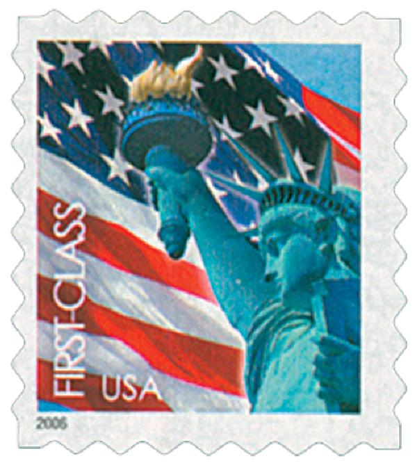2005 39c Statue of Liberty and Flag, ATM booklet single