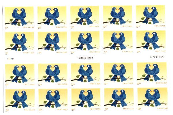 2006 39c non-denom Love Birds, bkt of 20