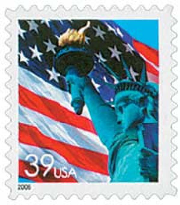 2006 39c Flag & Statue, perf 11 1/4 x 10 3/4