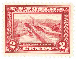 1913 2c Panama-Pacific Exposition: Panama Canal, carmine, perf 12