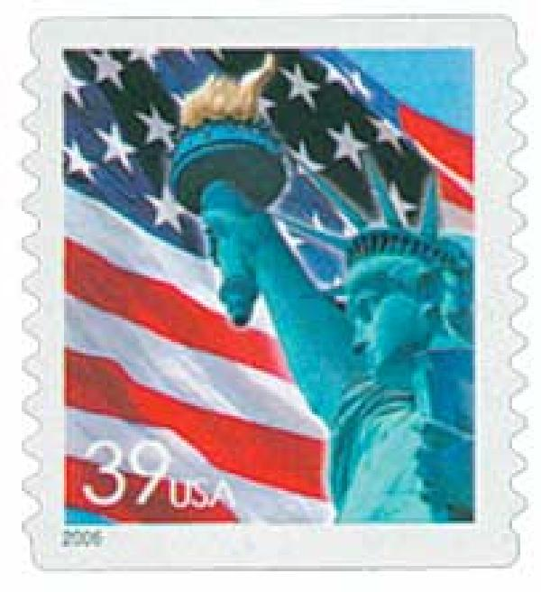 2006 39c Statue of Liberty and Flag, coil, 11 vertical perf