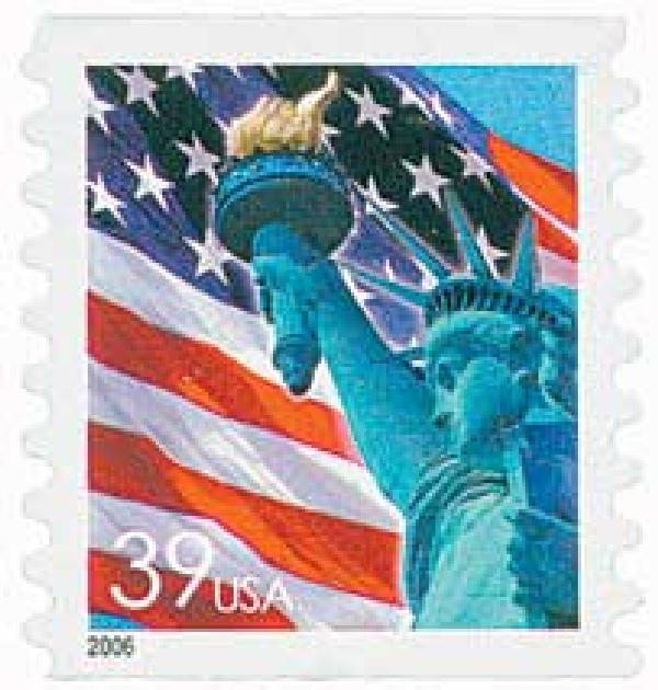 2006 39c Statue of Liberty and Flag, coil, no micro print