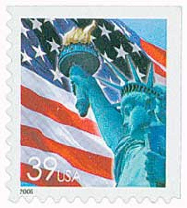 2006 39c Statue of Liberty and Flag, booklet single, no micro print
