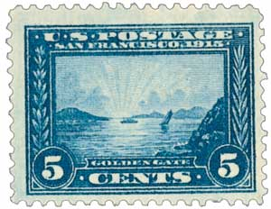 1913 5c Golden Gate perf 12 blue