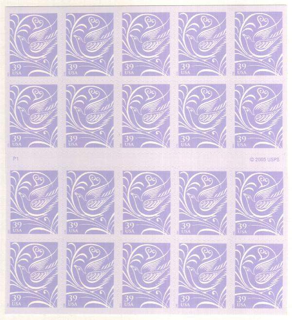 2006 39c Wedding Doves Bkt pane of 20
