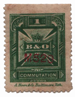1886 1c green, perf 12, B & O