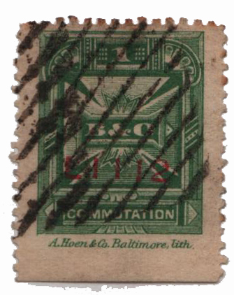 1886 1c green, perf 12, A Hoen & Co.