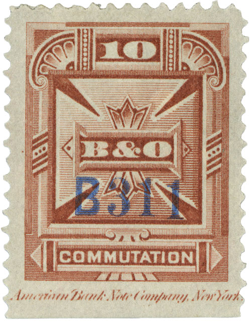 1885 10c red brn,perf 12,'Balt.& O