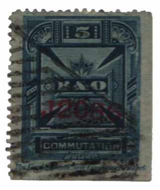 1886 5c bl,perf 14, thin paper