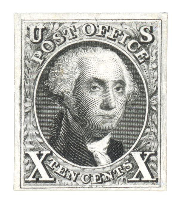 1875 10c Washington, imperforate