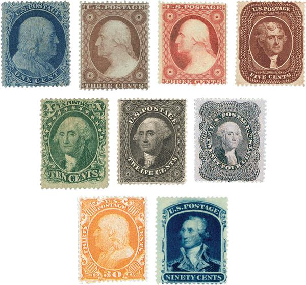 1857-60 Reprint Issues, collection of 5 stamps