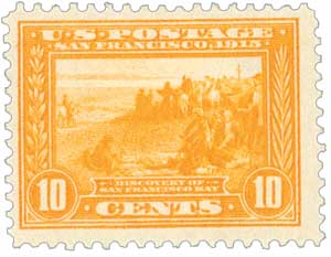 1913 10c Panama-Pacific Exposition: Discovery of San Francisco Bay, orange yellow