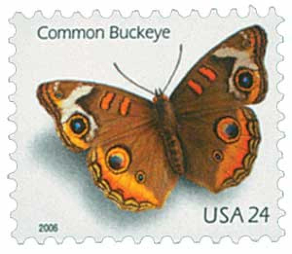 2006 24c Common Buckeye Butterfly, water-activated gum